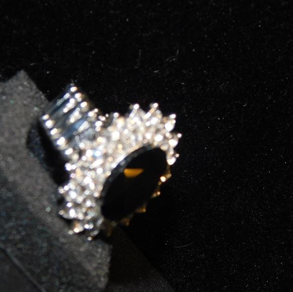 black and white diamond fashion stretch ring